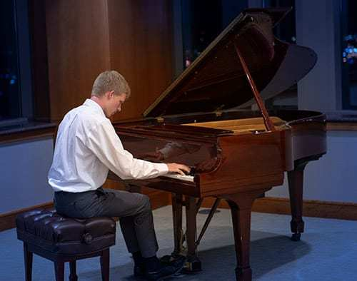 Nathan Schaumann (age 18) Division III: 1st place, Sonata No. 1, Mvt. III by Carl Vine