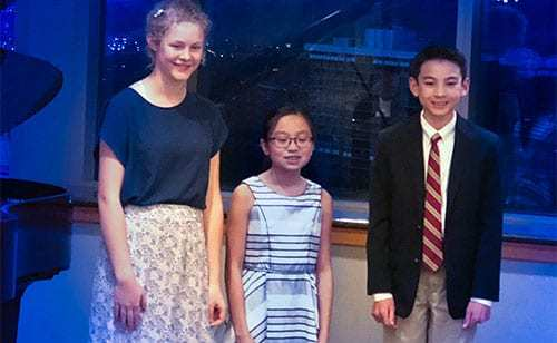 (left to right) Dora Meiwes (2nd Place), Megan Tandar (1st place), Conrad Flake (3rd place)